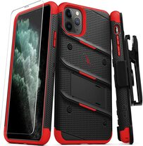 ZIZO Bolt Military Kickstand Case with Belt Clip Holster & Tempered Glass